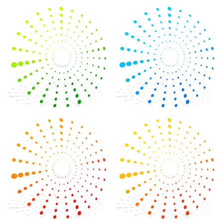 Radial dotted elements on white. editable vector graphics Stock Photo