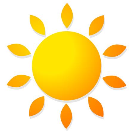 Sun vector graphics. Sun shape isolated on white Foto de archivo