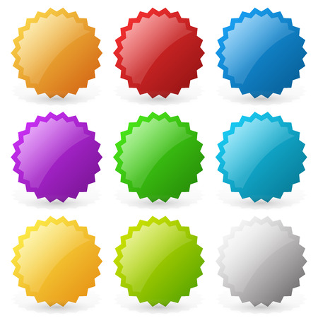 Empty badge, starburst, price flash shapes. Editable vector.
