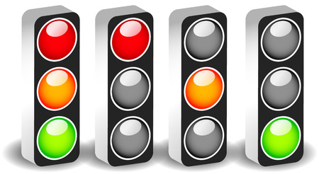 trafic stop: Traffic lights, traffic lamps isolated on white. (Semaphores) Vector.