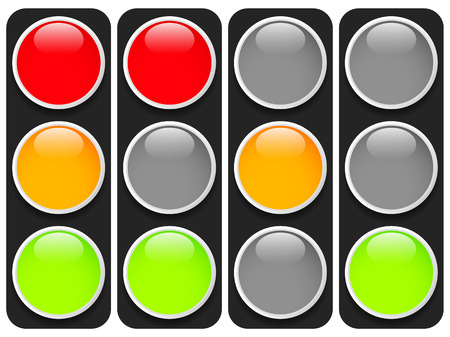 trafficlight: Traffic lights, traffic lamps isolated on white. (Semaphores) Vector.