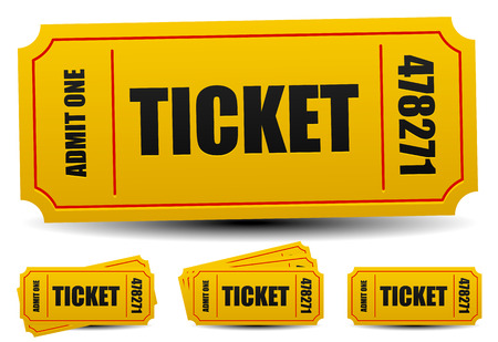 cinema ticket: Admit one tickets. 4 compositions. Editable vector.