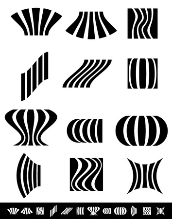 protuberant: Deformed vertical bars with deformation effects. set of 12 different distortions. Illustration