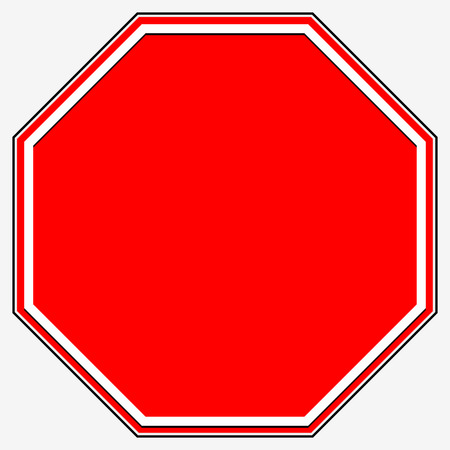 red sign: Blank stop sign. Blank red octagonal prohibition, restriction road sign.
