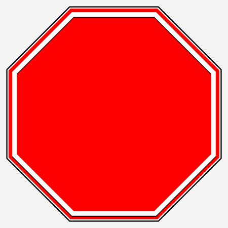 octogonal: Señal de stop en blanco. Blank prohibición octogonal rojo, señal de tráfico restricción.