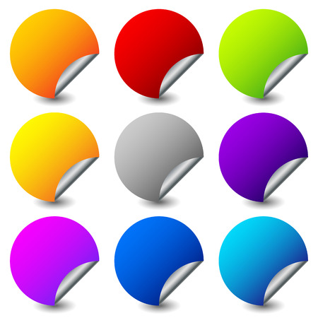 Peeling stickers with metallic back side. Set of 9 colors.