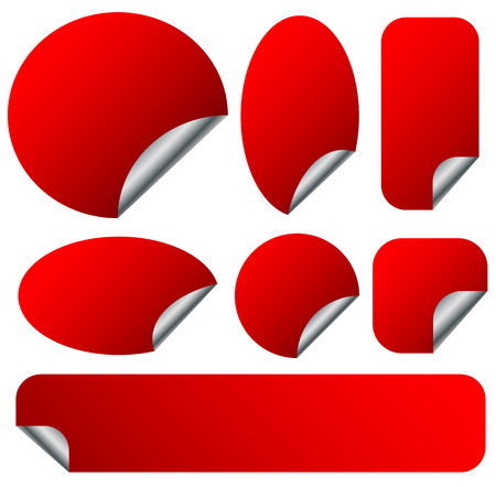 adhesion: Peeling red stickers set with metallic back side. Set of 9 shapes Illustration