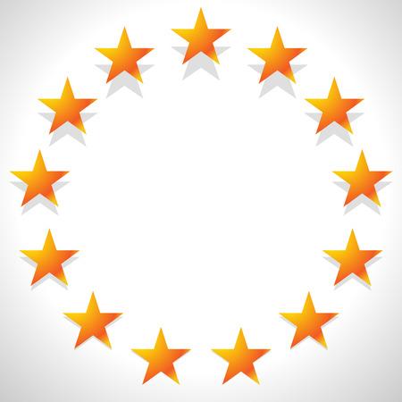unification: Yellow, orange star in circle. Editable vector.