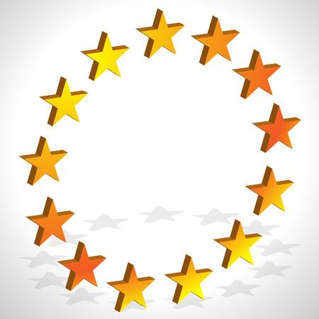 europa: Yellow, orange star in circle. Editable vector.
