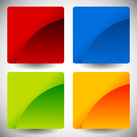 ten empty: Blank glossy square buttons with rounded corners, vector. Set of 4 colors. Squares consist of 2 pieces. Illustration