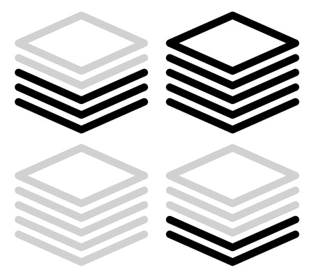 three layer: Tall black and white progress, steps, phase indicators, vector. (5 steps)