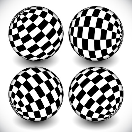 chequered: 3d spheres with checkered (chequered) surface on white