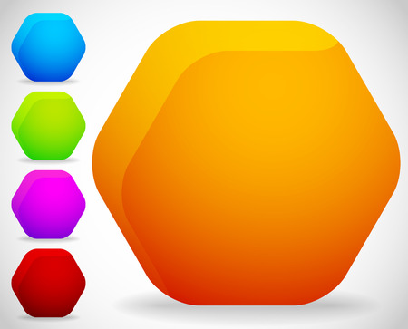 highlight: Empty octagonal shapes, button, badge backgrounds with smooth gradient fills and slight highlight. Illustration