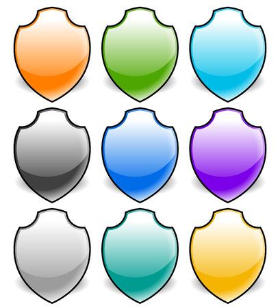 sheild: Vector shield shapes. Editable illustration. Eps 10.