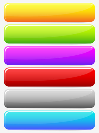 blank button: Horizontal blank button, banner backgrounds. Set of more colors. Web, print design elements. Vector.