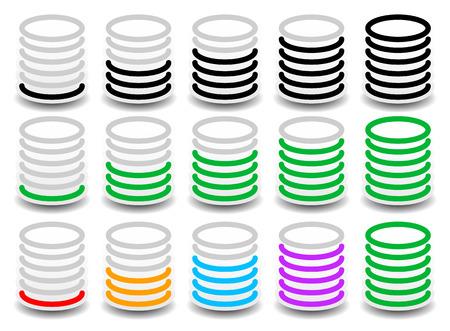 progression: Rounded cylinder progress, steps, phase indicators. vector. Fullness, completion concept.