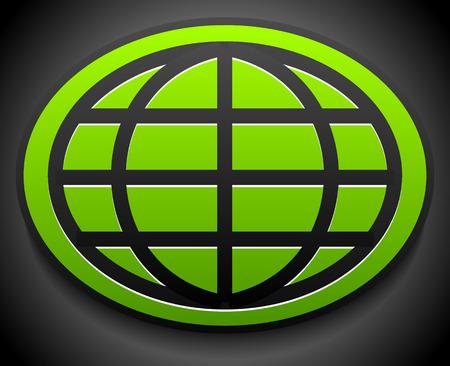 wireframe globe: Wire-frame globe on green oval over dark backdrop Illustration
