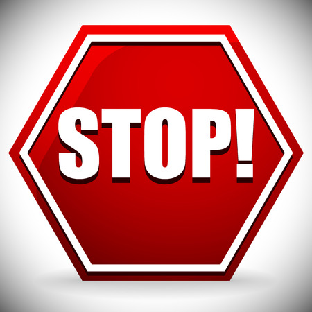 Word STOP on red road sign. Vector graphics.