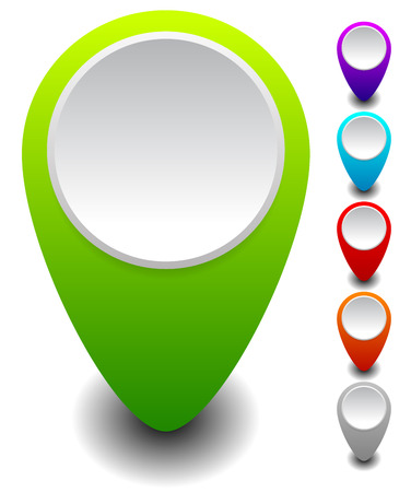 Set of colorful map markers, map pins with empty circle Vector