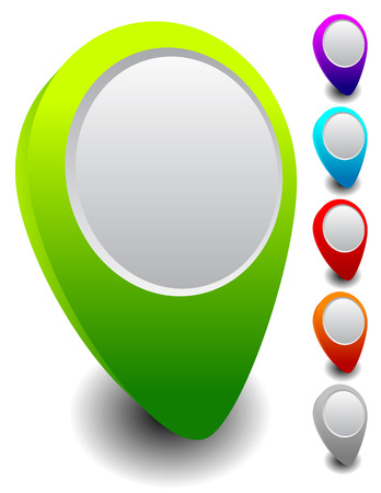 map pins: Set of colorful map markers, map pins with empty circle