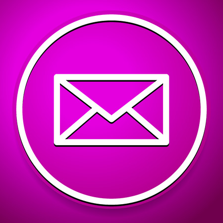 webmail: Purple email, envelope, closed letter icon, symbol for correspondence, communication, contact concepts. Vector. Can be used as an icon, or image.