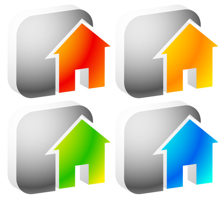 round button: Icon(s) for house, apartment, rent, home, homepage, housing concepts.