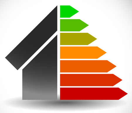 House with Energy Rating Certificate, Energy Performance Certificate Illustration