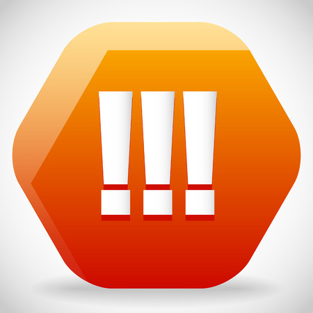 중요: Triple exclamation marks, exclamation points on rounded hexagon sign. Attention, warning, importance, emphasis concepts. Orange and yellow in colors. Vector.