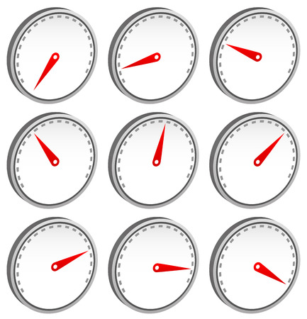 admeasure: Dial faces with pointer isolated on white. Measure, gauge, indication concepts. Editable vector.