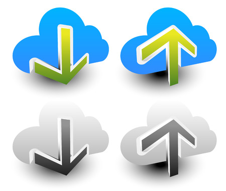 webhost: Clouds with arrows. Upload, download icons. Upload, download from the cloud.