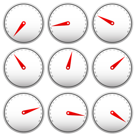 progression: Dial faces with pointer isolated on white. Measure, gauge, indication concepts. Editable vector.