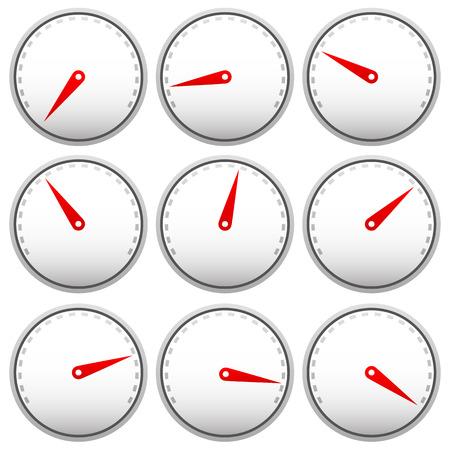 Dial gezichten met aanwijzer geïsoleerd op wit. Meten, meten, indicatie concepten. Bewerkbare vector.