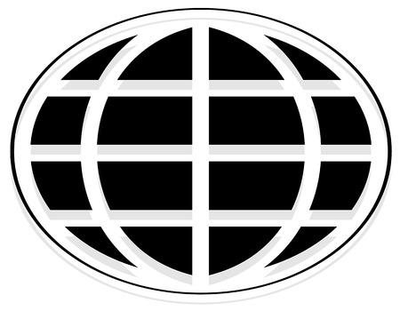 wireframe globe: Oval shaped wire-frame globe. Editable vector illustration. Illustration