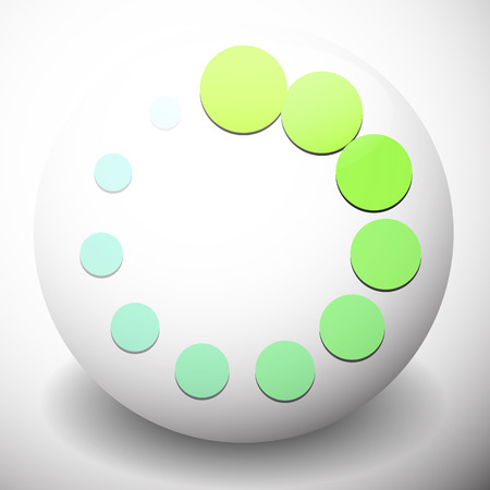 buffer: Dotted preloader (buffer) shape on sphere, editable vector. Circular dots. Generic icon.