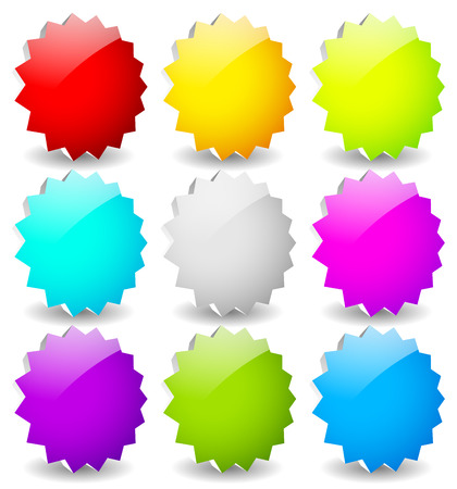 adhesion: Blank starburst shapes, price flashes. Set of 9 colors. 3d. Illustration
