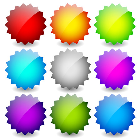 adhesion: Blank starburst shapes, price flashes. Set of 9 colors. Illustration