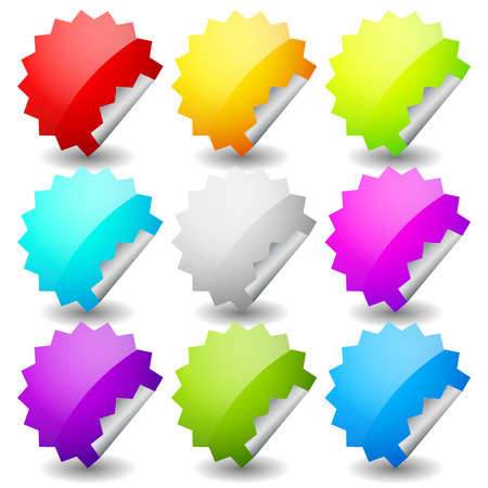 adhesion: Starburst shape sticker set in 9 colors. Empty, blank vector sticker set. Illustration