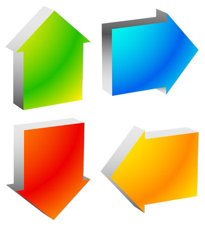left right: Colorful bold arrow icons. Arrows pointing to every direction. Left, right, up, down arrows. (Vector)