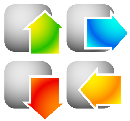 top pointer: Colorful bold arrow icons. Arrows pointing to every direction. Left, right, up, down arrows. (Vector)