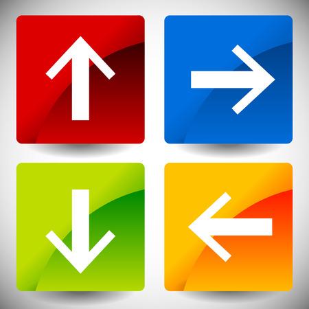 directions: Arrow pictogrammen in 4 richtingen. Omhoog, omlaag, links, rechts pijlen. Stock Illustratie