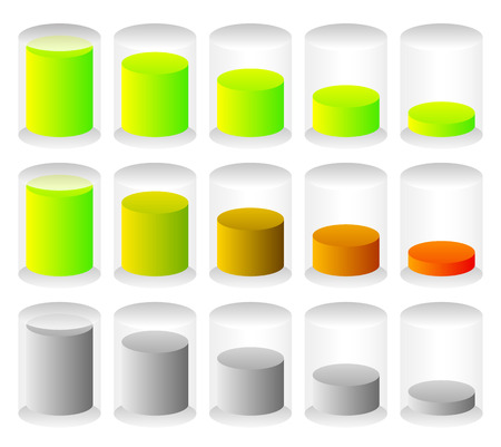 fullness: Cylindrical graphics for levels, fullness concepts. Progress indicators.