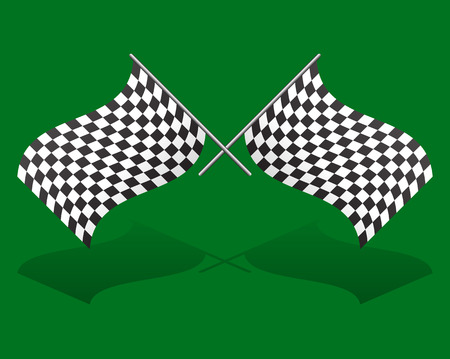Crossed, chequered racing flags. Editable vector graphics photo