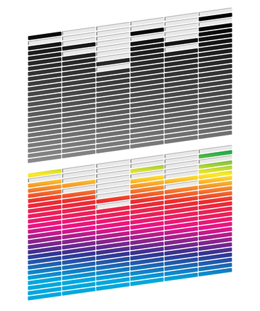 equaliser: Equalizer (EQ) graphics. Black and white and gradient version. Stock Photo