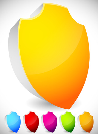 sheild: Glossy, blank 3D shield shapes. Several colors included. (Yellow, blue, red, green...)