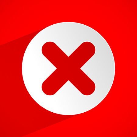 exclude: Red cross vector. Delete, remove, quit icon.