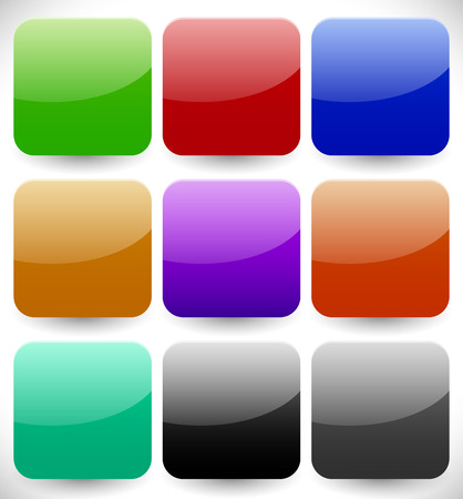 square button: Set of blank button backgrounds in different colors. Vector design elements Stock Photo