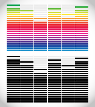 eq: Equalizer (EQ) graphics. Black and white and gradient version. Stock Photo