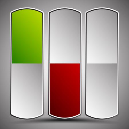 unpressed: Botones verticales, botones de encendido. Verdes, estados rojos, y la versi�n sin prensar. gr�ficos vectoriales editables Foto de archivo