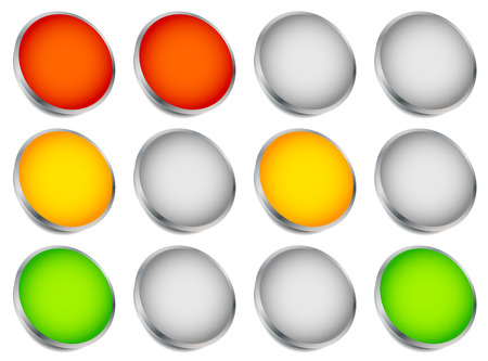 allow: Traffic light (traffic lamp, semaphore) concept graphics. Green, yellow, red lights.