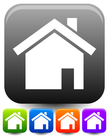 rounded squares: House symbols on rounded squares with highlight effect. Icons for suburban building, homepage, real estate themes.